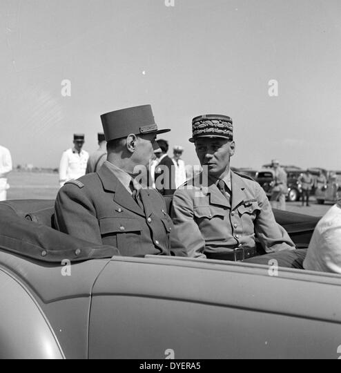 Tunis, Tunisia. General de Gaulle and General Mast. General Mast has been installed only the day before as resident - Stock Image