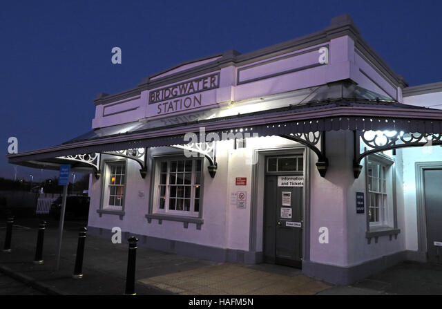 Bridgwater railway station at dusk,GWR,Somerset,SW England, UK - Stock Image