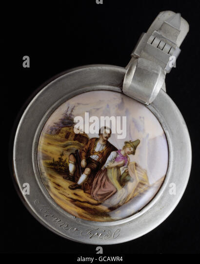 fine arts, painting, painted beer jug lid, tin mounting, transfer lithograph, coloured, Alpine couple, Germany, - Stock Image