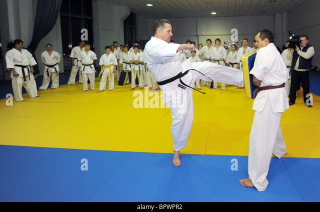 Natural resources minister gives karate master class - Stock Image