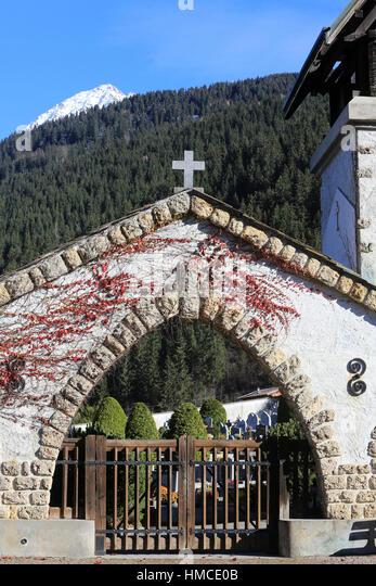 Entrée du cimetire. Cemetery Contamines-Montjoie. - Stock Image