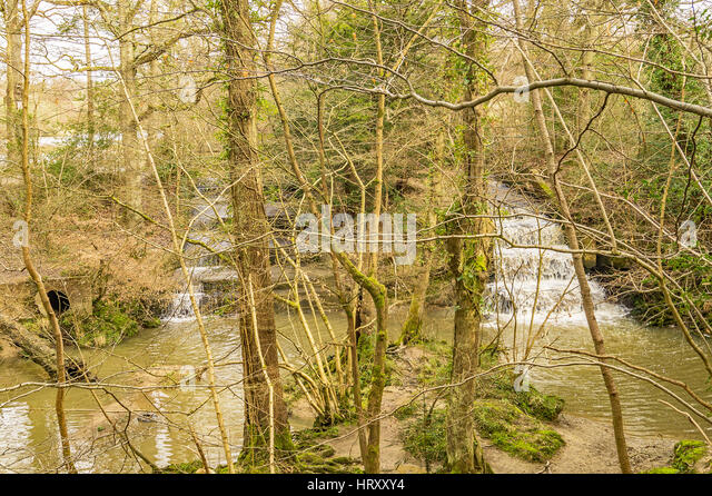 The Lake overflows cascading down the steps - Stock Image