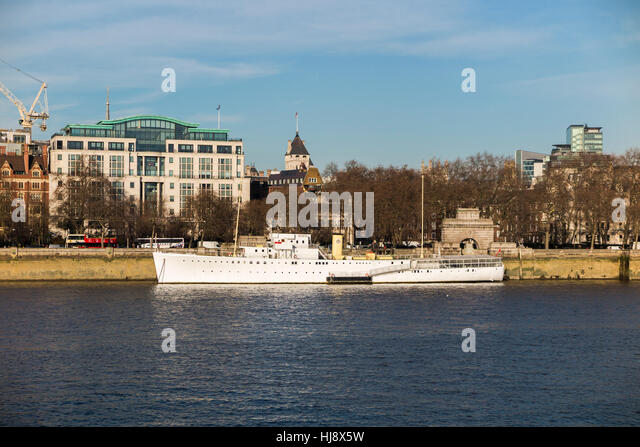 HQS Wellington, home of the Honourable Company of Master Mariners, moored at Temple Stairs, Victoria Embankment, - Stock Image