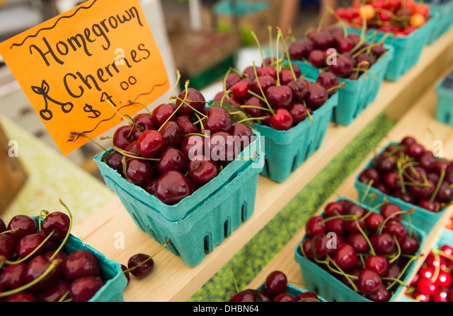 Farm stand with punnets of blueberries and rapsberries for sale, fresh organic fruit. - Stock Image