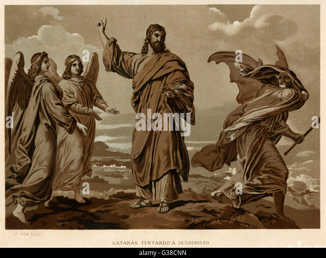 When Satan offers him all  kinds of earthly rewards,  Jesus rejects him. - Stock Image