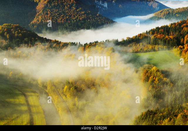 View from Eichfelsen of the Donautal (Danube Valley), near Beuron, Baden-Wurttemberg, Germany, Europe - Stock Image