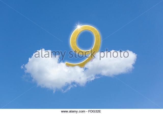 Photo illustration concept of being on Cloud 9. bliss euphoria elation happiness joy delight exhilaration jubilation - Stock Image
