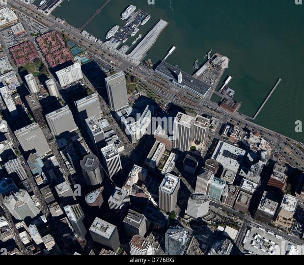aerial photograph San Francisco financial district - Stock Image