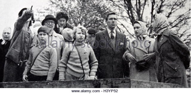 Photograph of some members of the royal family during the Badminton Horse Trials - Stock Image