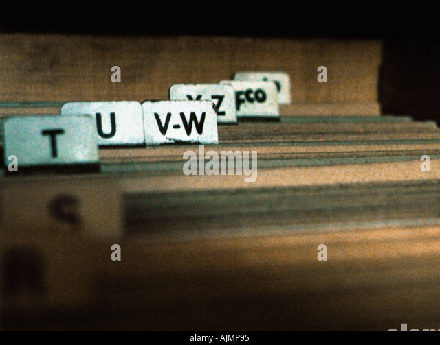Files in alphabetical order - Stock Image