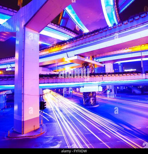 junction with light in shanghai - Stock Image