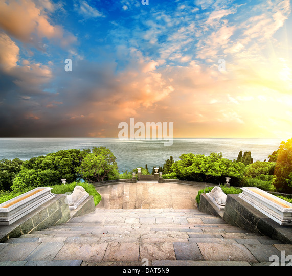 Stairs in Vorontsov park on a background of the sea and sky - Stock Image