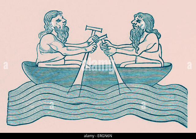 Irishmen rowing. Two men pull on oars in a small rowing boat. After an illustration from the Toy manuscript, 13th - Stock Image