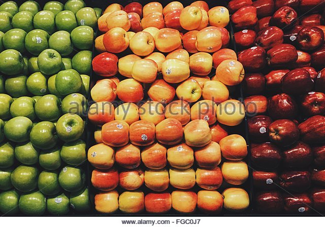 High Angle View Of Various Apples In Market - Stock Image