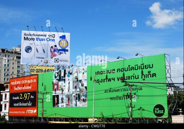 Bangkok billboards advertising - Stock Image