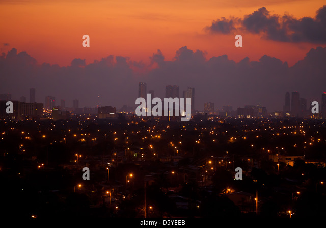 City of Miami Skyline with a view of  Marlins Park stadium at sunrise - Stock Image