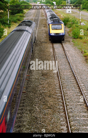 Trains on the Cardiff Central to London Paddington Line. England, United Kingdom. - Stock Image