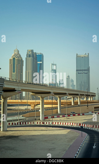 Elevated railway track to downtown Dubai, United Arab Emirates - Stock Image