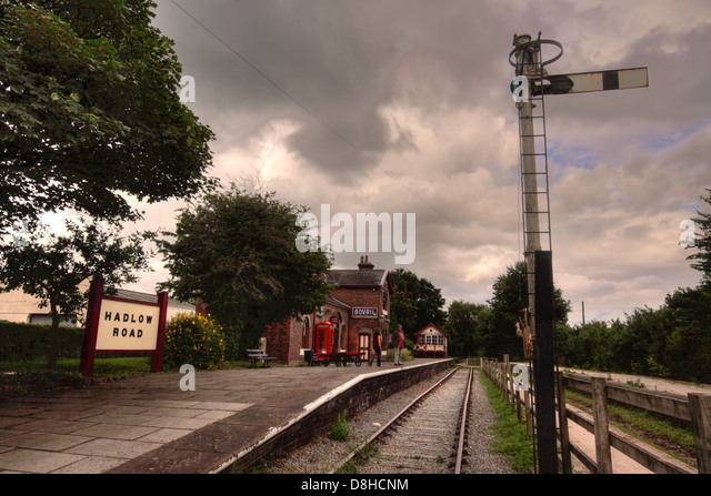 Hadlow road historic preserved railway station, with signal on the Wirral Way, Merseyside, England, UK - Stock Image