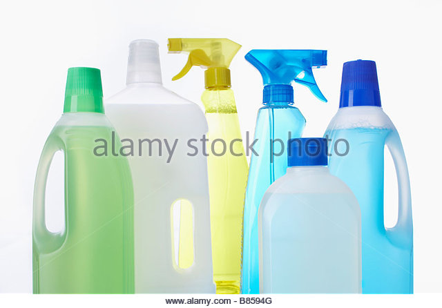 assortment of cleaning agents - Stock Image