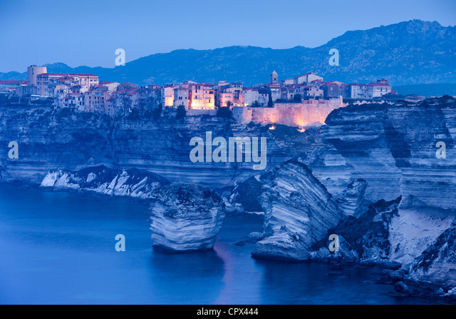 Bonifacio at dawn, Corsica, France - Stock Image