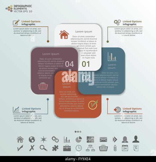 Abstract illustration of 4 options infographic elements. - Stock Image