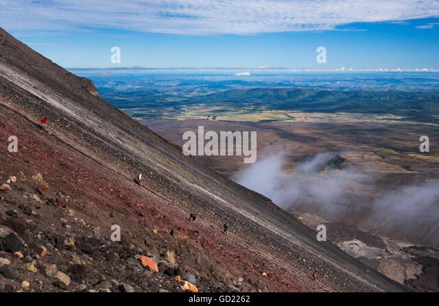 Mount Ngauruhoe Volcano summit climb, extra on the Tongariro Alpine Crossing, Tongariro National Park, North Island, - Stock Image
