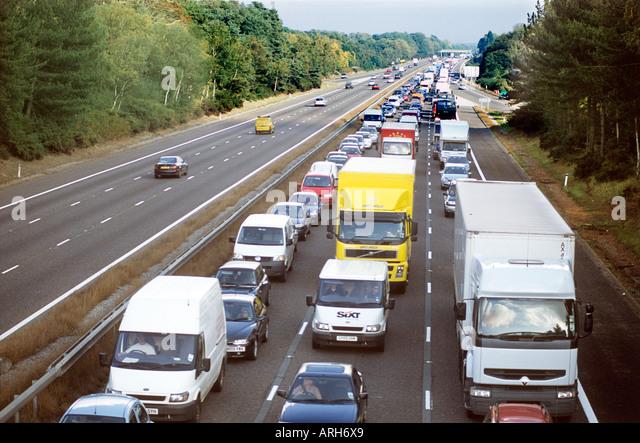 M3 Motorway blocked by accident causing severe Traffic Jam - Stock Image