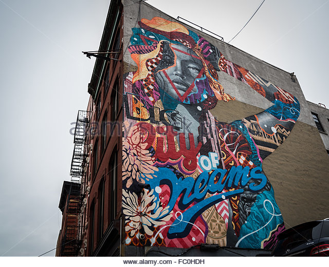 Street art mural manhattan stock photos street art mural for Mural on broome street