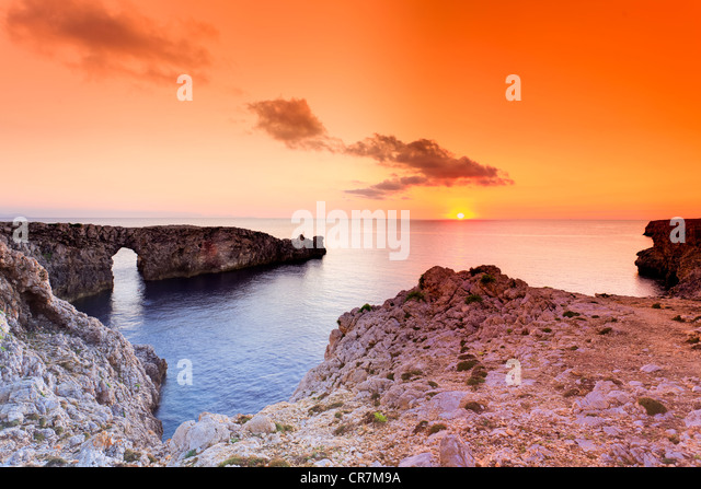 Spain, Balearic Islands, Menorca (Minorca), Pont d'en Gil - Stock Image