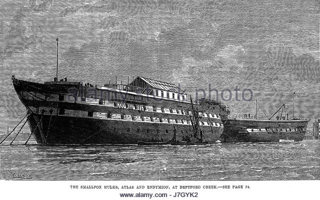 L0003270 Ships used as smallpox isolation hospitals. Credit: Wellcome Library, London. Wellcome Images images@wellcome.ac.uk - Stock-Bilder