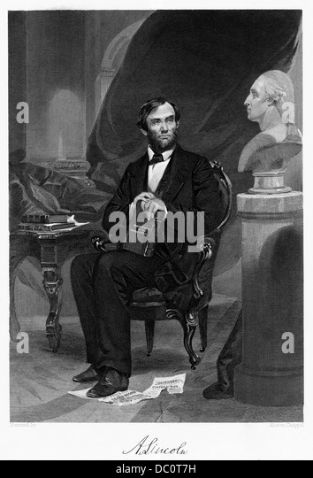 1800s 1860s SEATED PORTRAIT ABRAHAM LINCOLN WITH SIGNATURE - Stock-Bilder