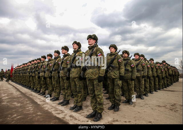 Moscow Region, Russia. 5th Apr, 2017. Servicemen at Alabino training ground during a rehearsal for the upcoming - Stock Image