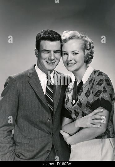 Vintage portrait of smiling couple - Stock Image