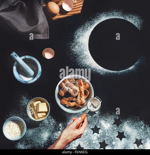 Puff pastry with stars and moon - Stock Image
