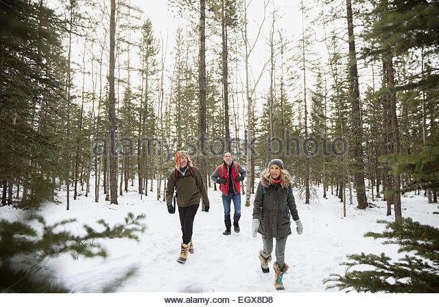 Friends in warm clothing walking in snowy woods - Stock Image
