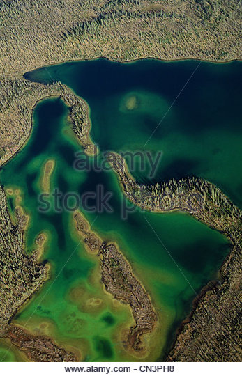Meandering rivers, South slope of the Brooks Range, Arctic National Wildlife Refuge, Alaska - Stock-Bilder