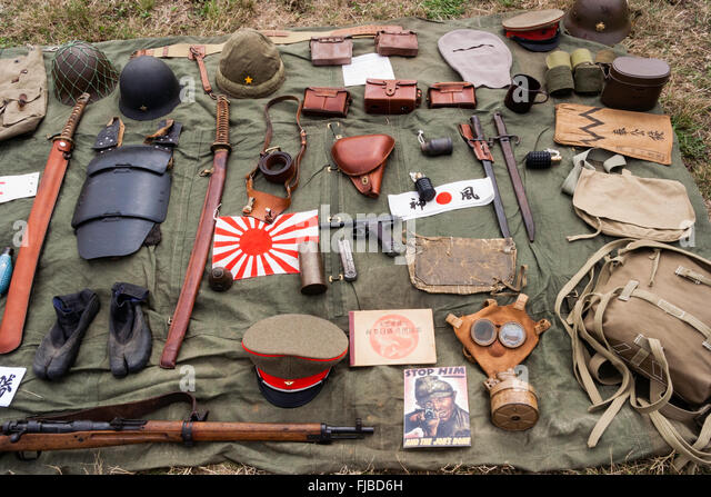 War and Peace show, England. Display of WW2 Japanese Imperial Army equipment laid-out on groundsheet - Stock Image