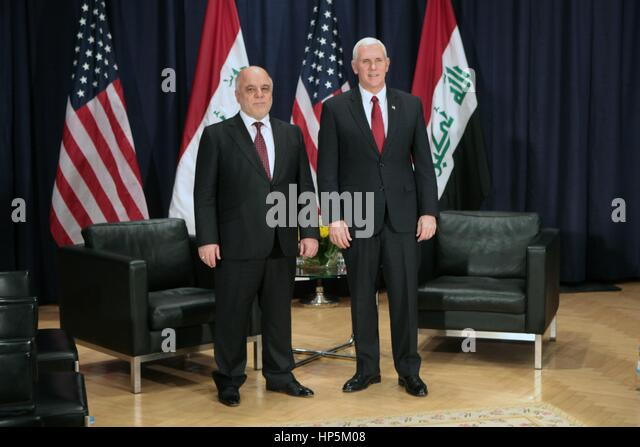 Munich, Germany. 18th Feb, 2017. U.S. Vice President Mike Pence with Iraqi Prime Minister Haider al-Abadi on the - Stock Image