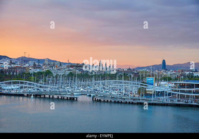 Barcelona Marina at sunset, Barcelona, Catalonia, Spain, Europe - Stock Image
