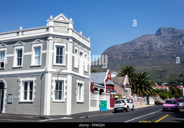 Cape Town South Africa African Woodstock Roedebloom Road neighborhood buildings Table Mountain National Park - Stock Image