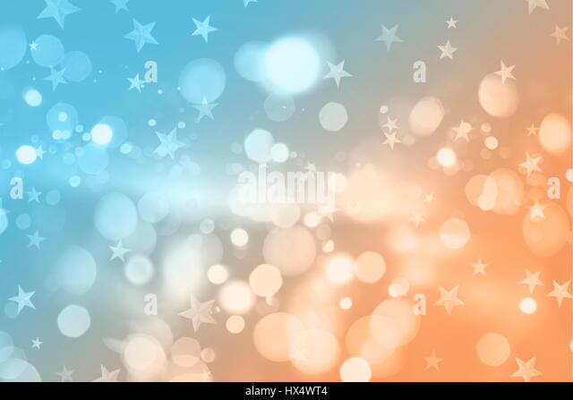 Retro styled Christmas background with bokeh lights and stars design - Stock Image