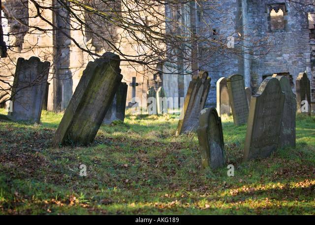 Ancient graveyard UK - Stock Image