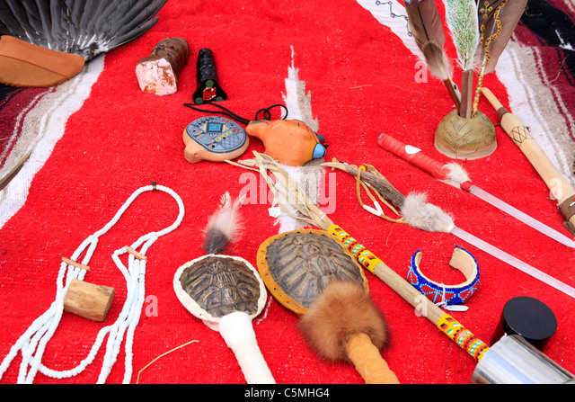 Native American Indian handmade goods for sale - Stock Image