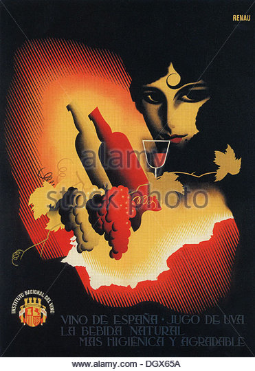 Vino de Espana, a vintage poster by Josep Renau, 1933 - Editorial use only. - Stock Image