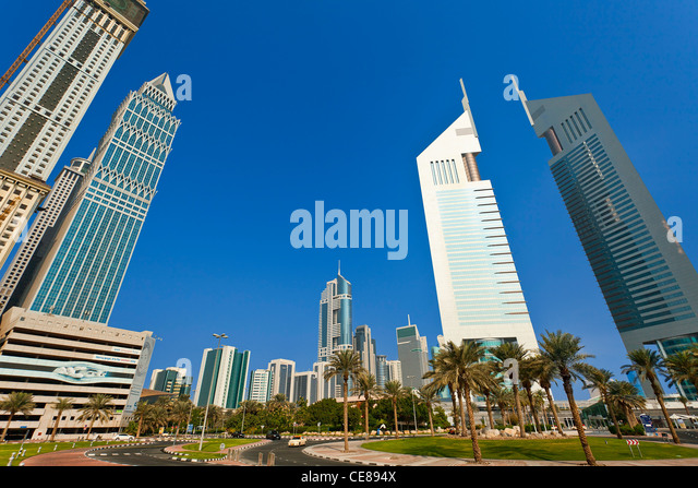 Dubai, Emirates Towers from the Dubai International Financial Centre - Stock Image