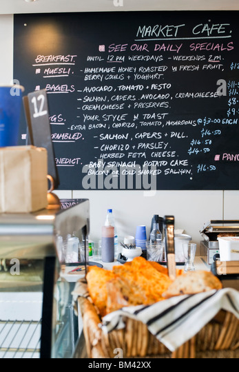 Market Cafe at the Auckland Fish Market. Auckland, North Island, New Zealand - Stock Image