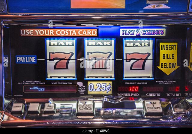 United Arab Emirates,  Dubai, Cruise ship Costa Fortuna, company from Italy. Gambling hall. Slot machine - Stock Image