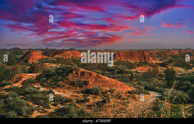 Sunset in desert - Stock Image