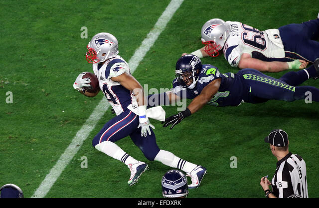 Glendale, Arizona, USA. 01st Feb, 2015. New England Patriots running back Shane Vereen #34 runs past Seattle Seahawks - Stock-Bilder